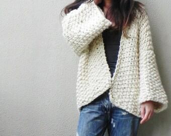 Handknit, Chunky, Oversized Cardigan, Wool Jacket, 3/4 Sleeve Cardigan, Fall Jacket, Cream Jacket, Slouchy Jacket