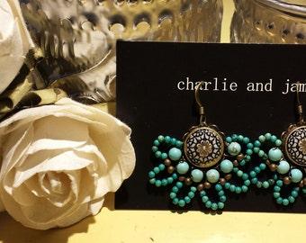 Turquoise Beaded Chandlier Earrings