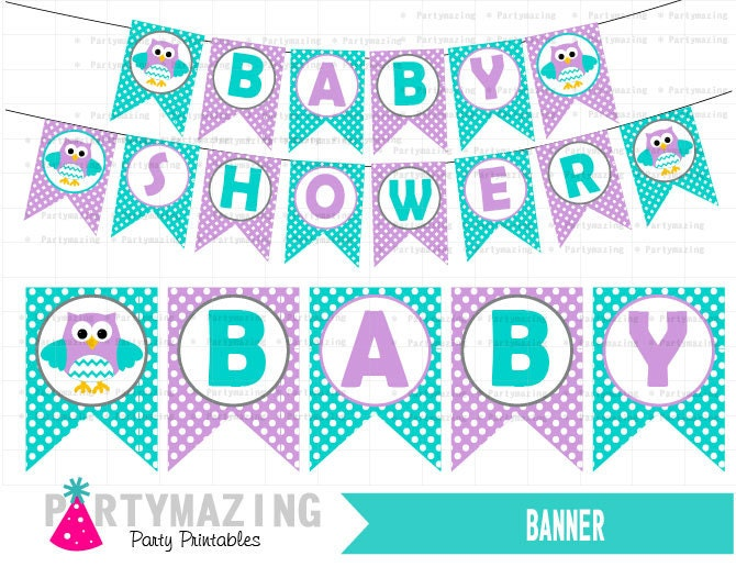 Owl baby shower banner diy printable party by partymazing Baby shower banners