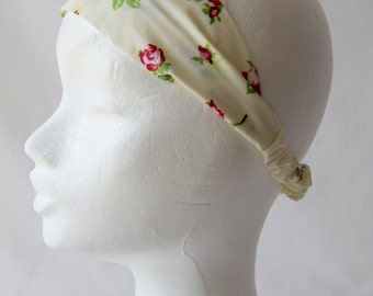 Floral Adult Headband, Cream Headband, Cotton Headband for Baby, Toddler, Children & Adults