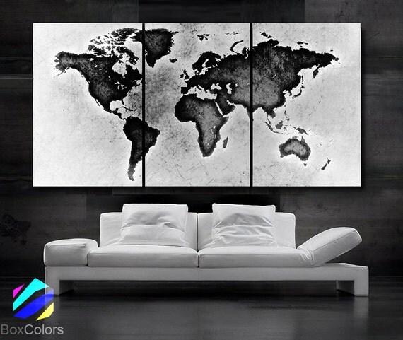 LARGE 30x 60 3 Panels Art Canvas Print World Map