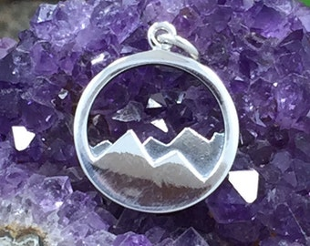 Mountain Range Charm, Mountain Charm, Nature Charm, Outdoors Charm, Sterling Silver Charm, Sterling Silver Pendant, PS01334