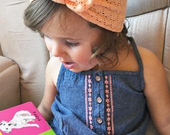 Peach Crochet top knot
