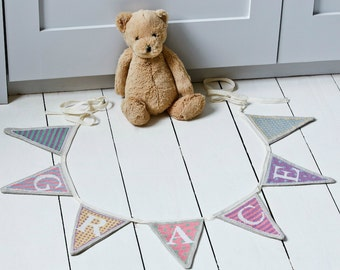 Cross stitch alphabet bunting PDF pattern in pastels