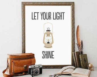 Nursery Print 8x10 Instant Download Let Your Light Shine Tribal Quote Art Print Nursery Cabin Decor Kid's Room Decor Camping Print Lantern