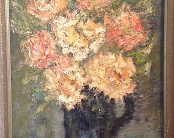 Flower painting on wood