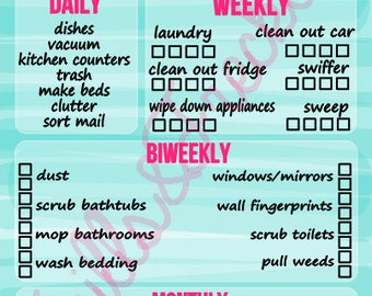 LAMINATED Monthly Cleaning Schedule for Erin Condren Life Planner
