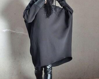 Oversized sweater, black oversize top, maxi coat dress, maxi coat, extravagant dress, loose sweater, oversize black top, hooded coat