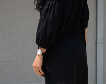 Off shoulderblack tunic, high low top, plus size tunic, off the shoulder blouse, women's oversized clothing, black off the shoulder blouse