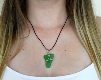 Green Sea Glass Pendant Necklace, Green Pendant Necklace, Sea Glass Necklace, Adjustable,