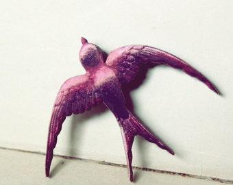 Pink Sparrow Pin // Wooden Photograph Pin // Bird Pin