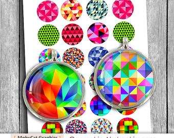 Geometric printable images 20mm 1 inch 30mm 1.5 inch Printable Images Digital Collage Sheet - Instant Download