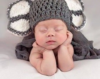 Crochet Baby Hat, Elephant Hat, Baby Shower Gift, Jungle Theme, Boy Infant Hat, Photography Prop, Coming Home Outfit, Infant Girl Hat
