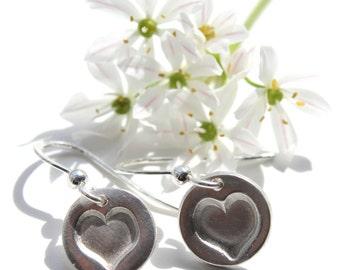 Silver heart earrings, heart drops, romantic jewellery, heart jewellery, valentines day, gift for bride, gift for girlfriend