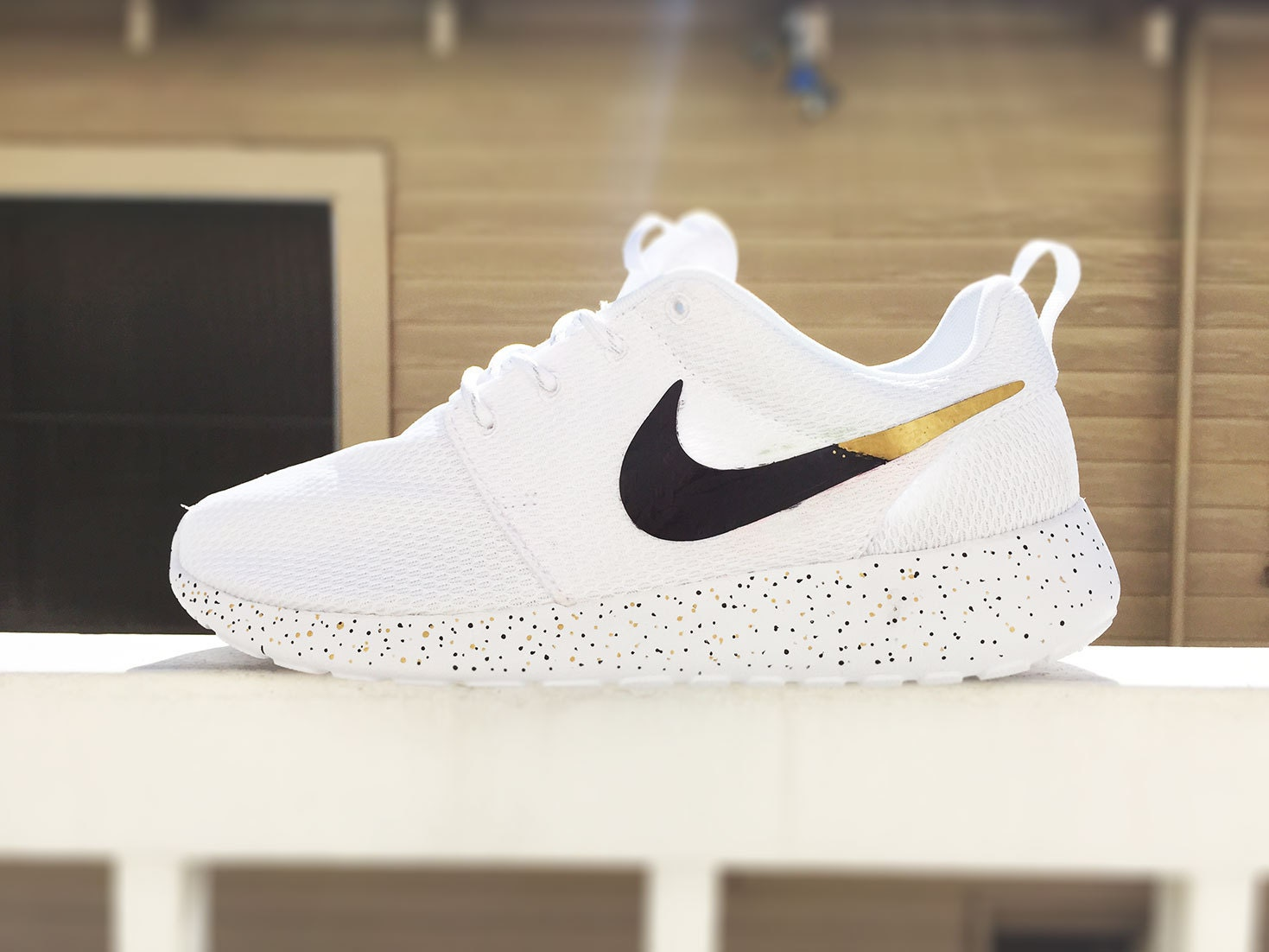 Custom Nike Roshe Run sneakers for women All white Black and