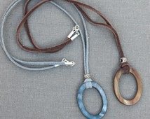 Eyeglasses Holder - Necklace.  Mother of Pearl Brown or Slate Oval Loop on Leather or Suede Cord. Glasses Holder - Lanyard.