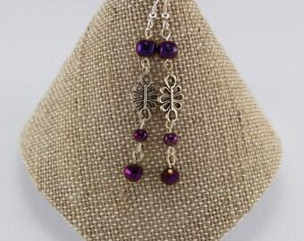 Earrings, Purple Beaded Earrings, Drop Earrings   SN-25