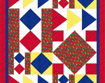 Modern, baby quilt PDF pattern - Boy-Girl Primary colours