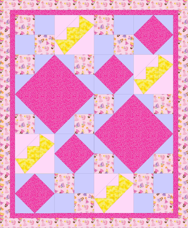 Modern Nursery Quilt Patterns : Modern baby quilt PDF pattern Girl Princess