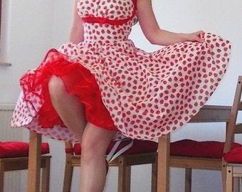 Pinup dress 'Strawberry Fun' strawberrs summer dress, rockabilly dress, 50s dress