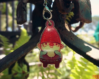 happy gnome /// clear acrylic phone charm