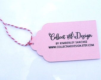 """Scalloped Edge Hang Tags With String- Gift Tags- 3 Tier Edge- ANY COLOR- Set of 45- 3""""x1.75"""""""