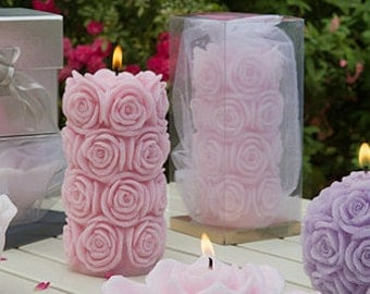 Christmas Gift - Rose Candles - Pillar Candles - Wedding candles - White Candles - Decorative candles