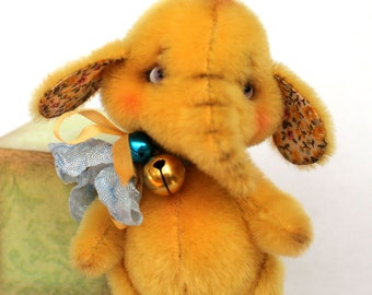 PDF Pattern - New! - Mini elephant Yellow - Artist Teddy Bear - teddy bear sewing pattern - Teddy Elephant
