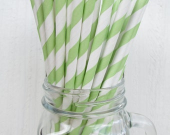Pack of 25 green and white stripe paper straws