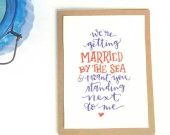 "Bridesmaid Beach Calligraphy Card, Custom 5x7 ""Will you be my bridesmaid"" Beach Wedding Bridesmaid Invitation Card"