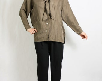 Vintage 80's 90's Cappuccino Brown Sandwashed Silk Oversized Baggy Bow Blouse