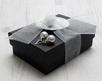Swarovski Gray Pearl Stud Earrings, Gray Pearl Studs, Classic Pearl Studs, Perfect Pearl Studs