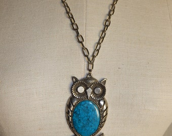 Vintage Owl Necklace Vintage Turquoise Owl Necklace Large Owl Necklace Statment Necklace