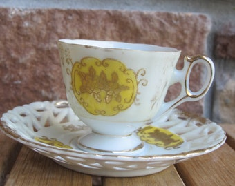 Vintage Fine china cup and reticulated lattice saucer-free shipping