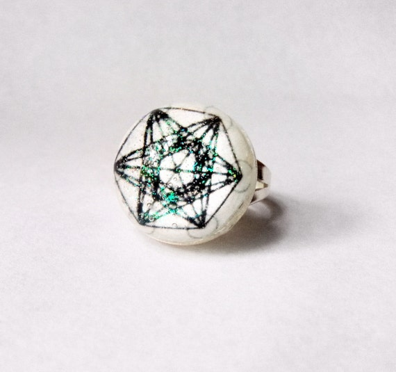 Metatrons cube ring metatron ring geometry by for Metatron s cube jewelry