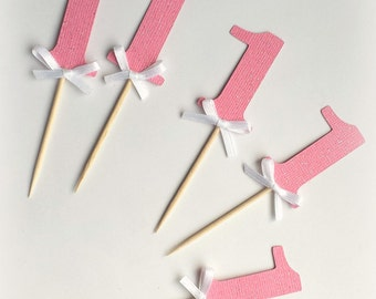 Number cupcake toppers, food picks, pink glitter with satin bow. Pink, white, glitter.  First birthday. Number 1.  Any number or color!