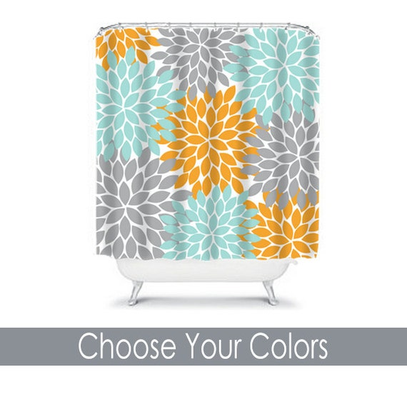 Curtains Ideas gray and orange shower curtain : Items similar to Orange Aqua Gray SHOWER CURTAIN Flowers Custom ...