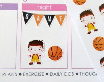 Basketball Set Stickers for Erin Condren Planner, Filofax, Plum Paper