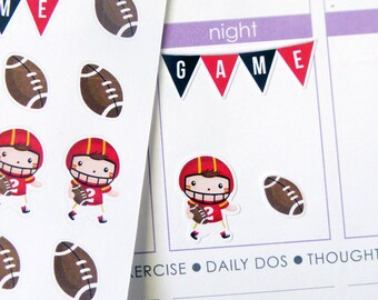 Football Set Stickers for Erin Condren Planner, Filofax, Plum Paper
