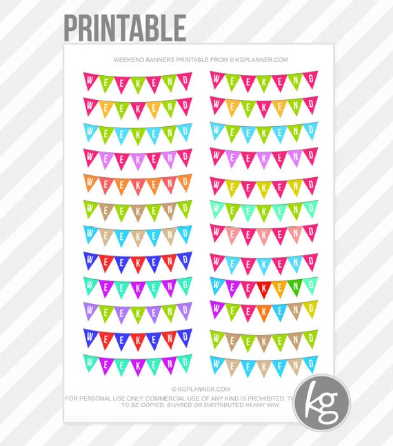 Weekend Banners Pdf Printable Planner Stickers For By