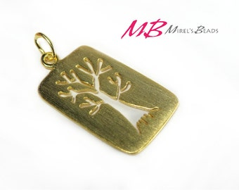 Brushed Gold Over Sterling Silver Rectangle Tree Charm, 13x23mm Pendant