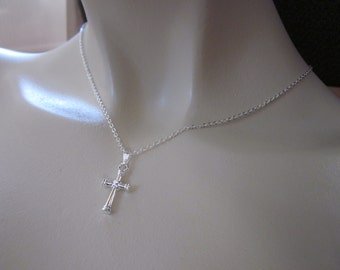 First Holy Communion Gift, Cross necklace, first communion necklace, Faith necklace, Girls First Communion jewellery, silver necklace UK