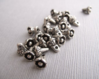 24pcs Patterned Ox Silver Flower Charms 8x6mm- Recycle - CB-52VPSB-54-D