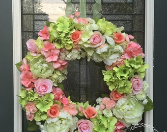Coral Hydrangea Wreath,Peony Wreath,Ranunculus Wreath,Coral Wedding Color Decoration,Summer Wreath,Shabby Chic Wreath,Cottage Chic Decor