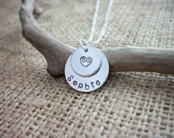 Hand stamped personalised heart name double layered circles necklace 19mm ~ customise with different designs