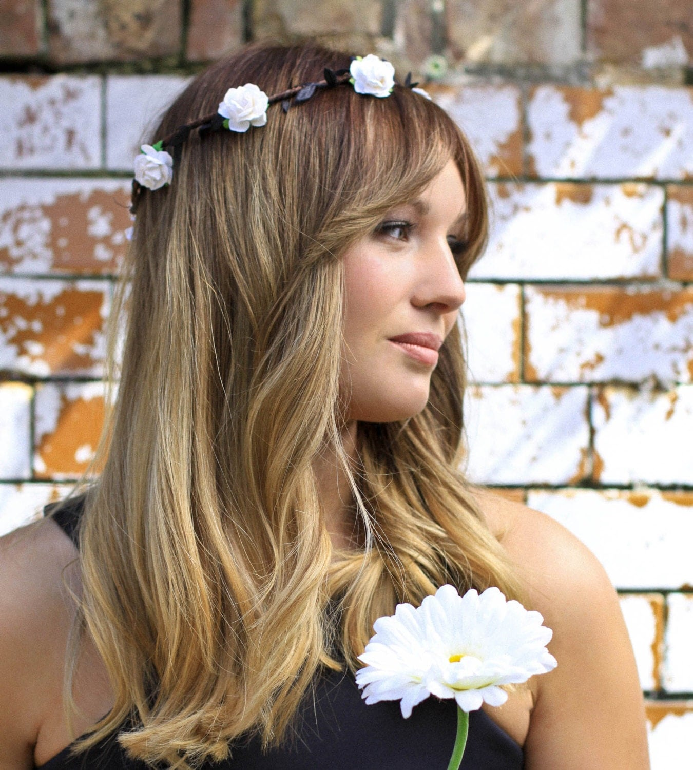White Flower Crown Rose Floral Crown Festival Halo Flower Girl