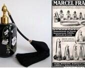 Vintage Marcel Franck Brevete SGDG Black Glass Art Nouveau Perfume Atomizer
