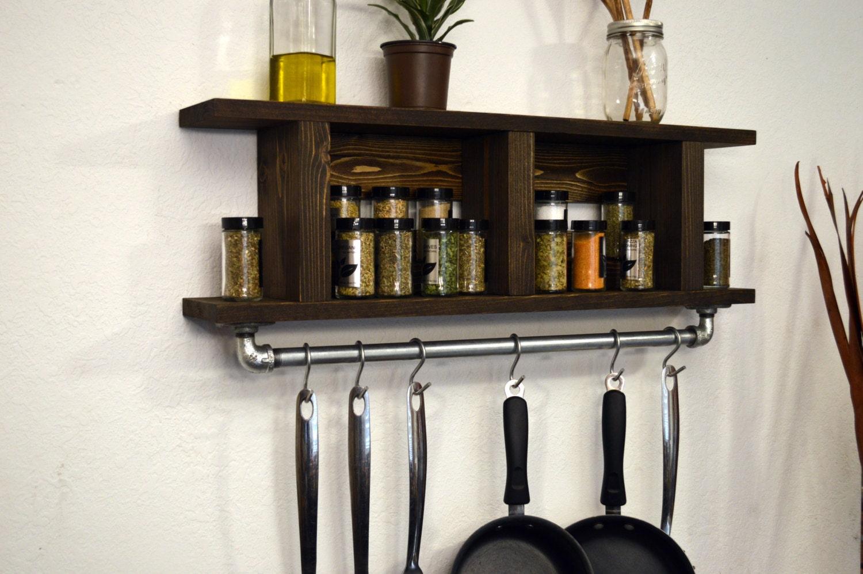 Modern kitchen shelf pot rack wall spice rack by rusticmoderndecor - Wall mounted spice racks for kitchen ...