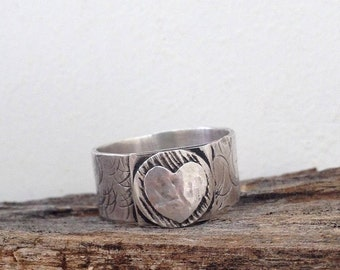 Sterling silver Heart Ring , Handmade , Hammered heart ring , Christmas gift , Tribal Textured Ring