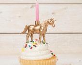 Gold Unicorn Candle Holder, Gold Unicorn Party Decor, Kids Party Decor, Bridal Shower Decor, Unicorn Themed Party, Unicorn Wedding Topper